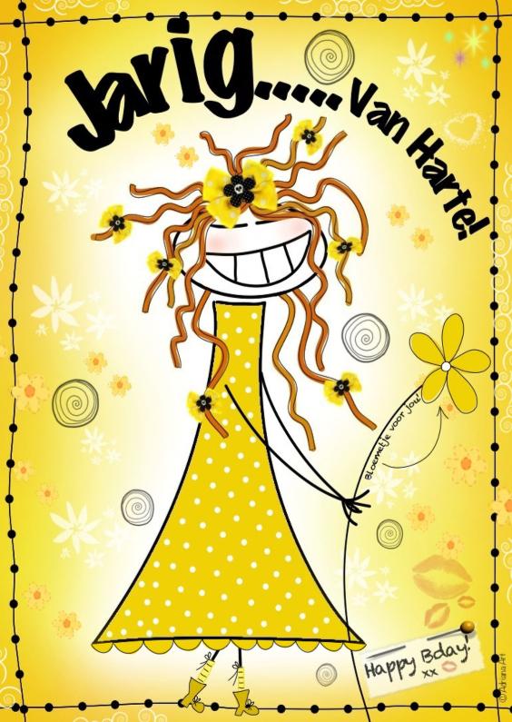 Verjaardagskaarten - Jarig van harte meisje met bloem H4Y