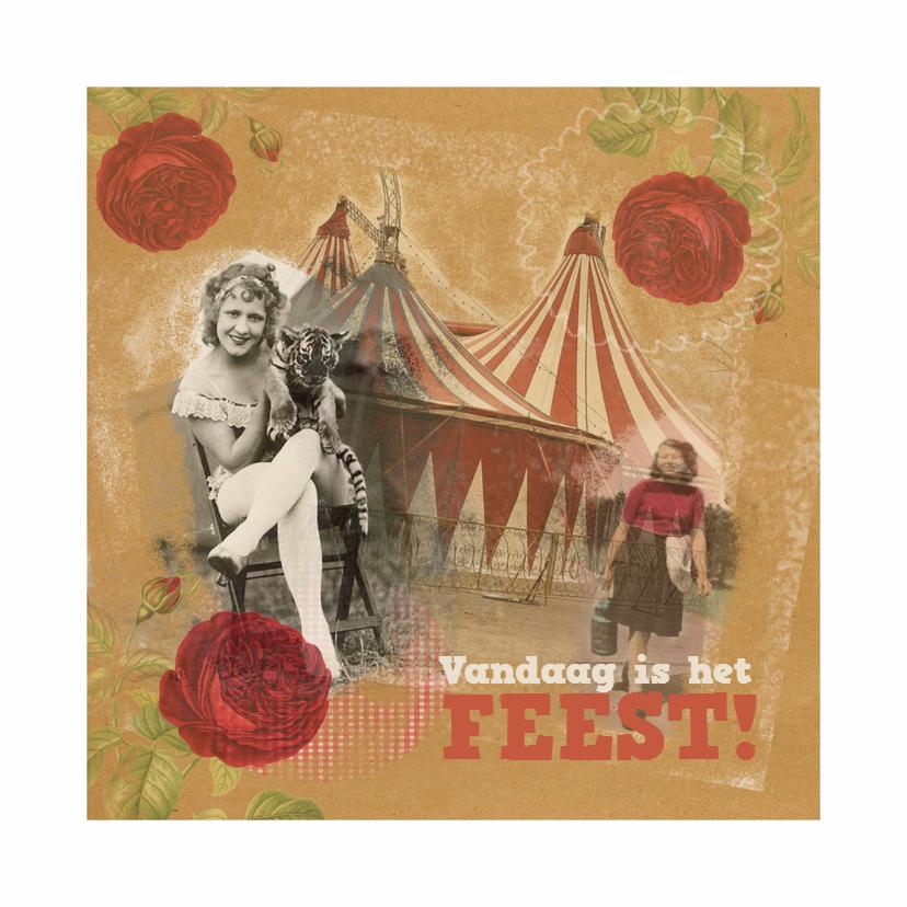 Verjaardagskaarten - Jarig - Vintage Feest - MW