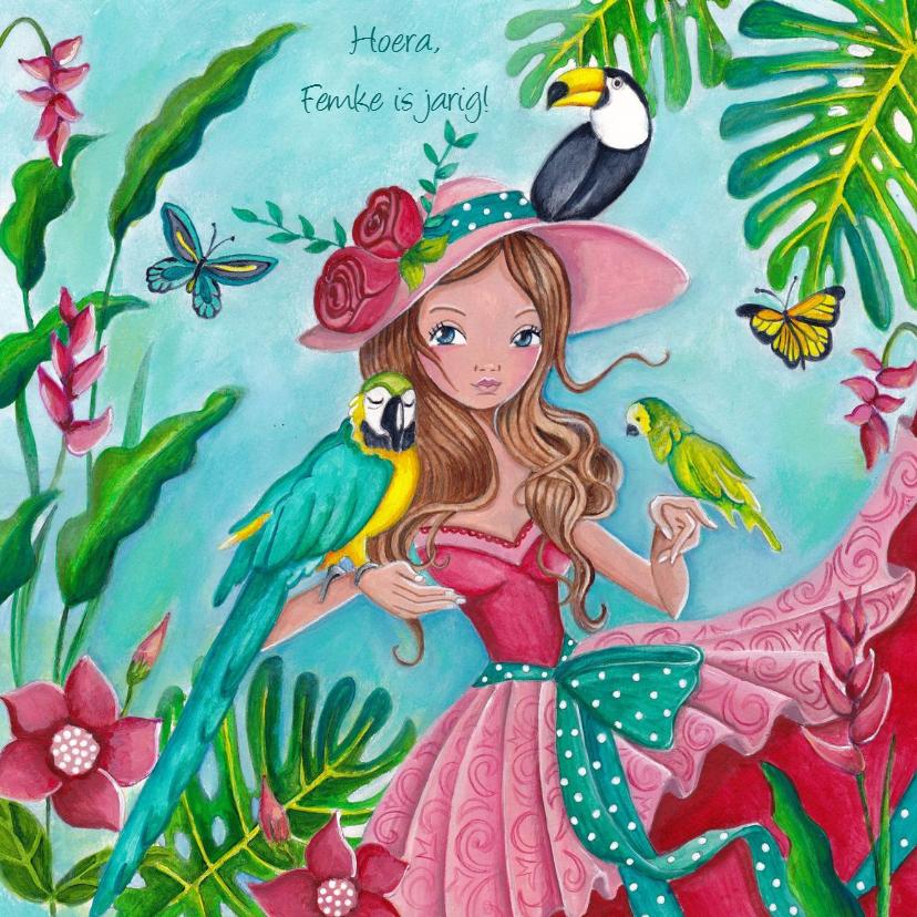 Verjaardagskaarten - Jarig Vrolijk Lief Prinses VOGELS roze
