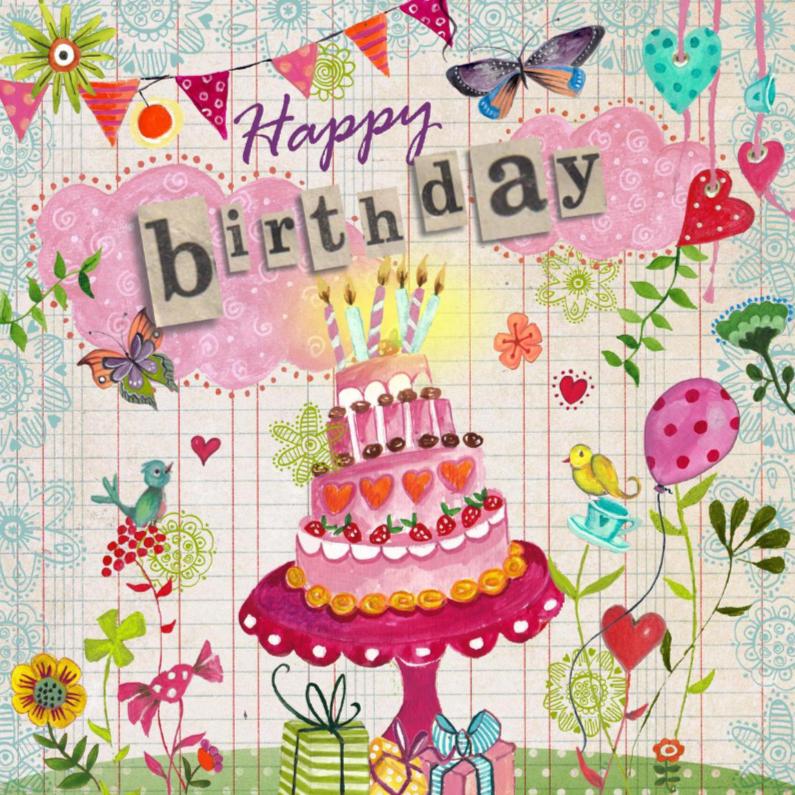 Verjaardagskaarten - Jarig Vrolijk Taart Wolken CartitaDesign