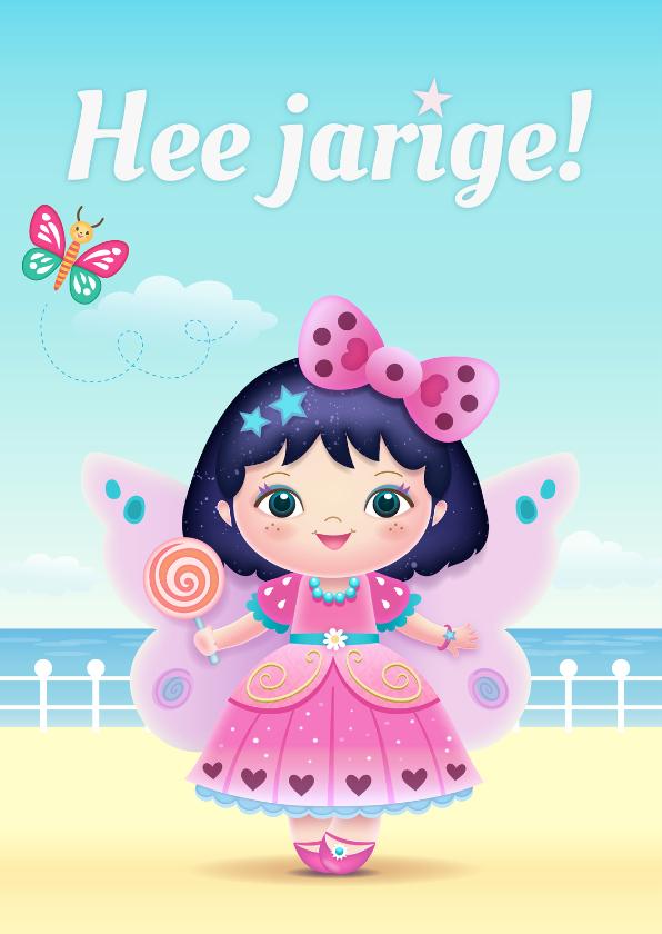 Verjaardagskaarten - Jarige roze fee - Tw