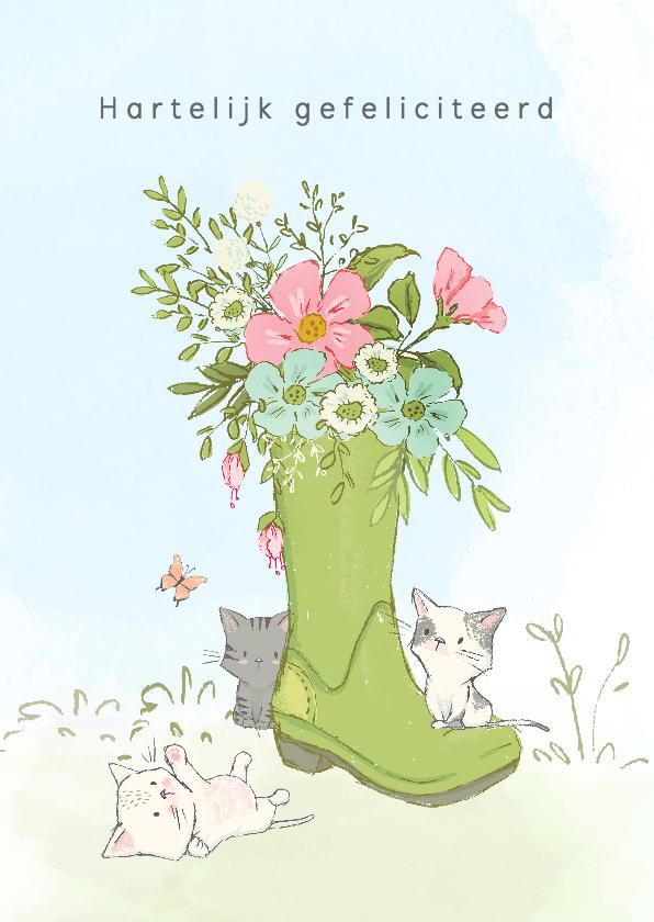 Verjaardagskaarten - Jarigkaart met kittens en bloemen