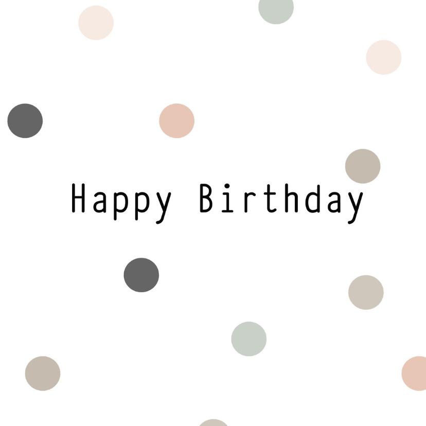 Verjaardagskaarten - Kaart happy birthday rondjes
