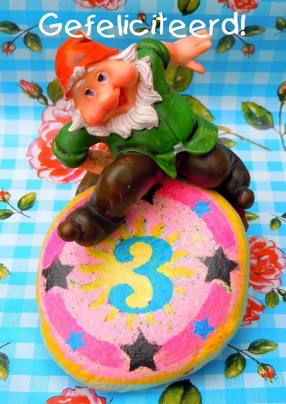 Verjaardagskaarten - Kabouterverjaardag 3 jaar