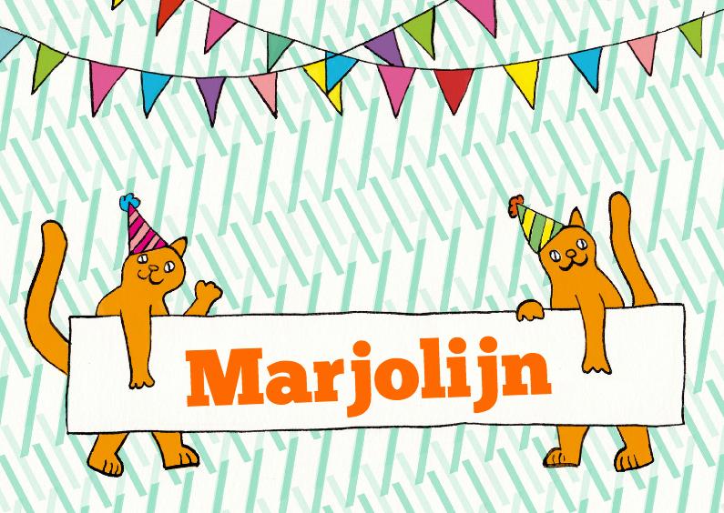 Verjaardagskaarten - Katten met naambord