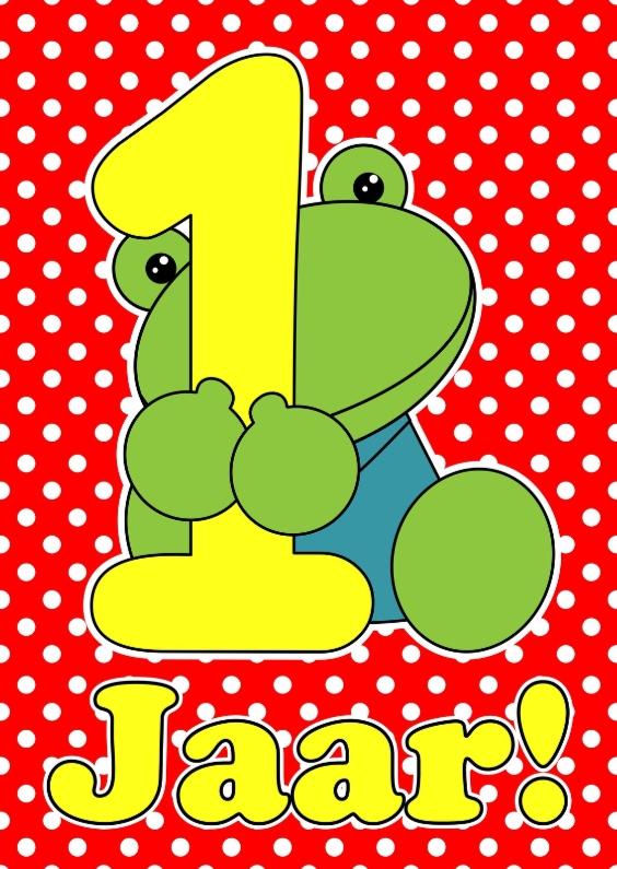 Verjaardagskaarten - Kikker 1 jaar
