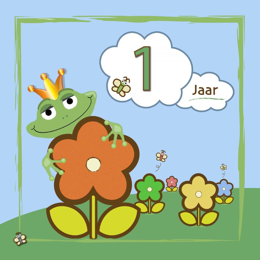 Verjaardagskaarten - kikker - bloemen en vlinders 1 jaar