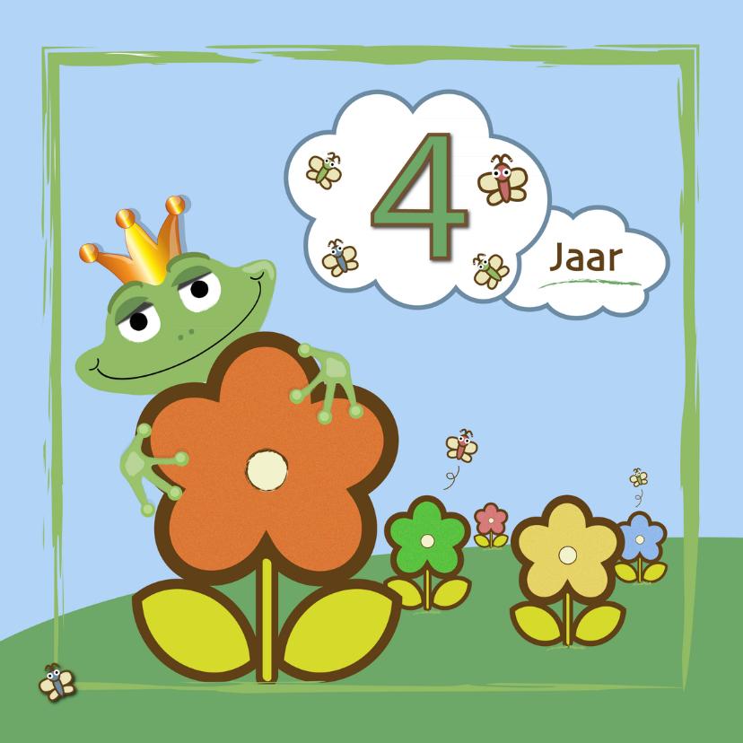 Verjaardagskaarten - kikker - bloemen en vlinders 4 jaar