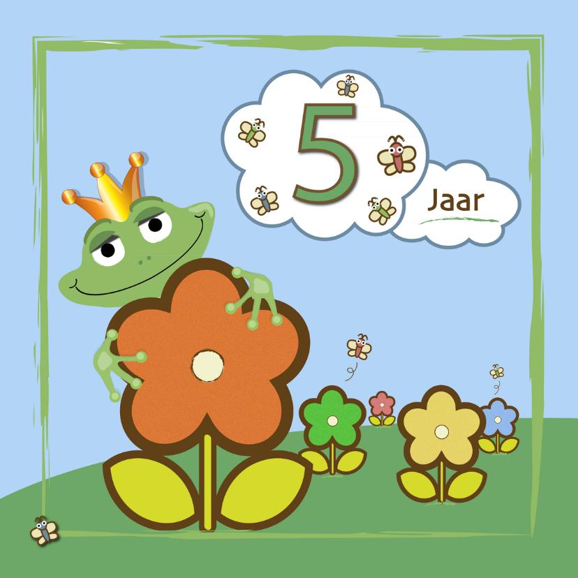 Verjaardagskaarten - kikker - bloemen en vlinders 5 jaar