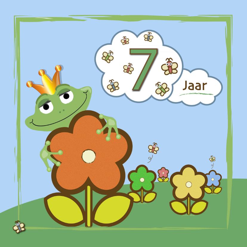 Verjaardagskaarten - kikker - bloemen en vlinders 7 jaar