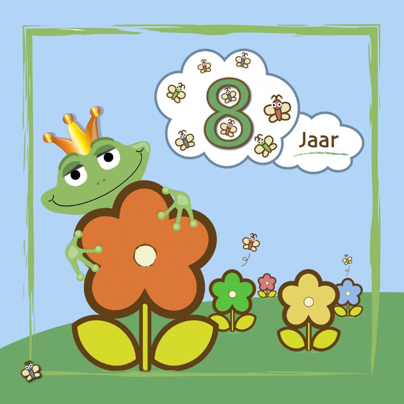 Verjaardagskaarten - kikker - bloemen en vlinders 8 jaar