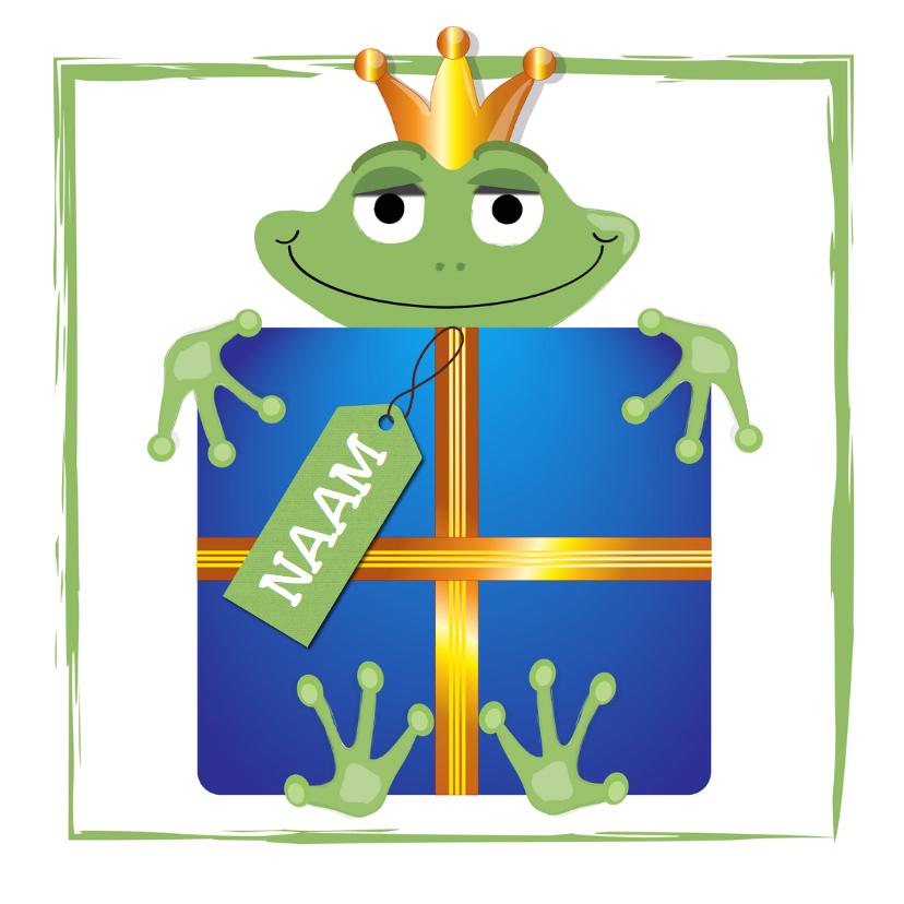Verjaardagskaarten - kikker - met een verjaardagskado 3