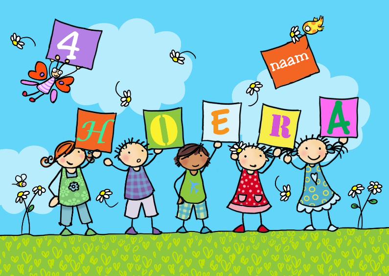 Verjaardagskaarten - kinderen met bordjes