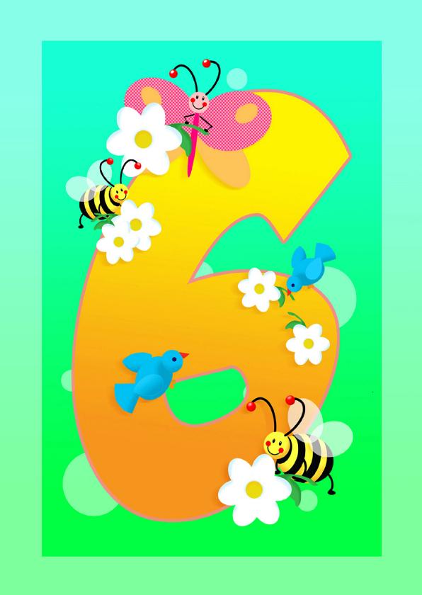 Verjaardagskaarten - kinderkaart Hoera 6 jaar