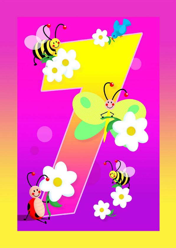 Verjaardagskaarten - kinderkaart Hoera 7 jaar