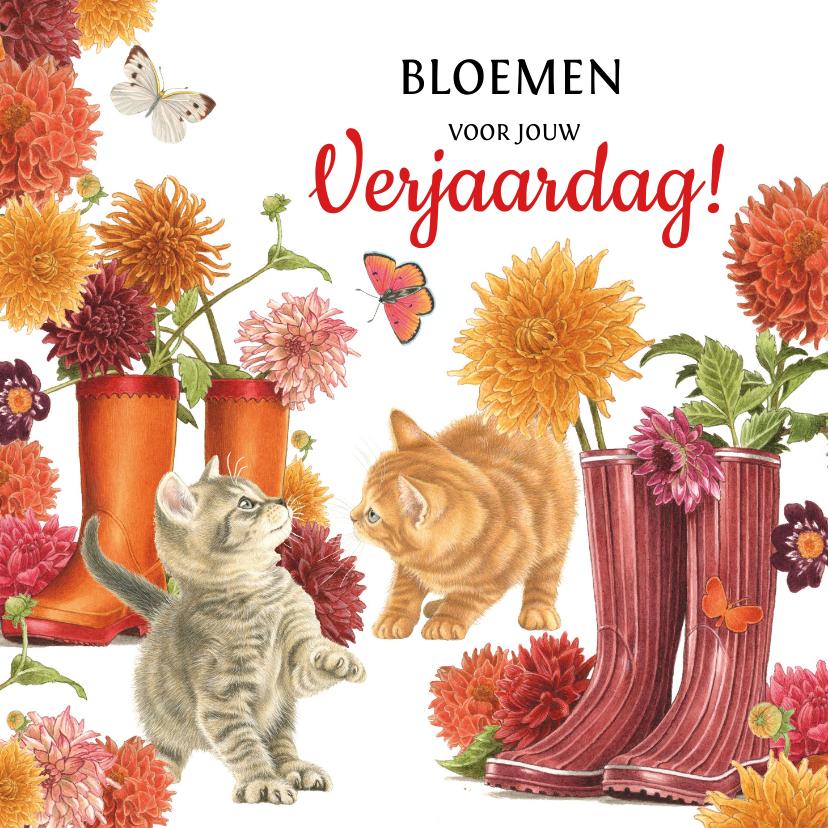 Verjaardagskaarten - Kittens verjaardagsbloemen in regenlaarzen