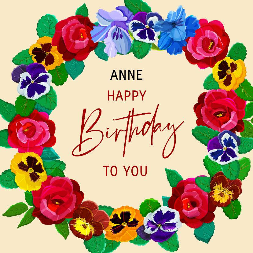 Verjaardagskaarten - Kleurige kaart met bloemen voor een jarige vrouw