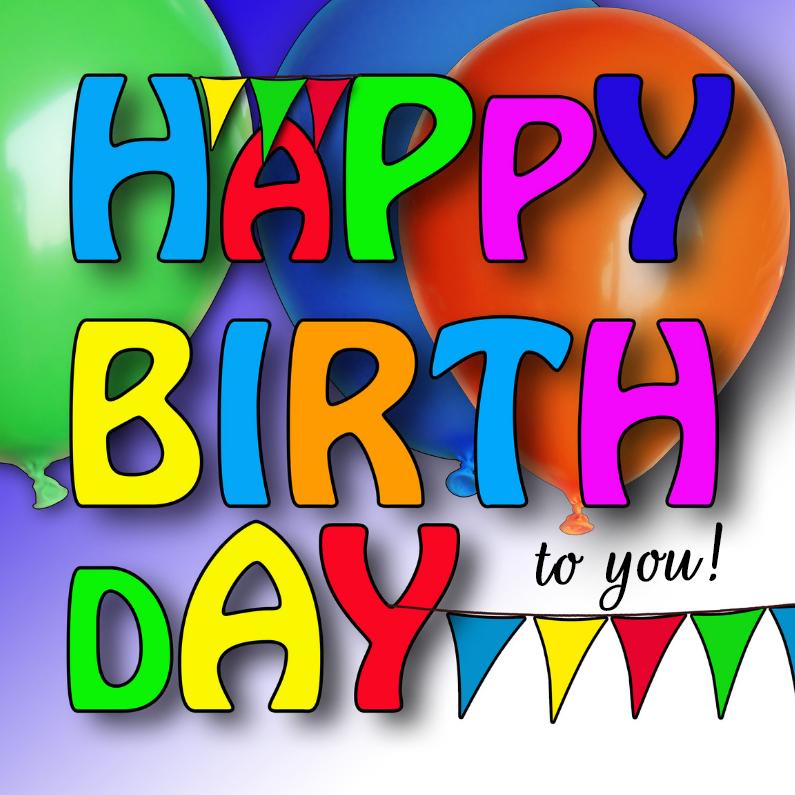 Verjaardagskaarten - Kleurige letters, met balonnen