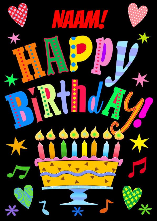 Verjaardagskaarten - Kleurige verjaardagskaart kleurige letters en taart