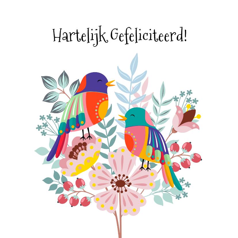 Verjaardagskaarten - Kleurige verjaardagskaart met bloemen en vogel