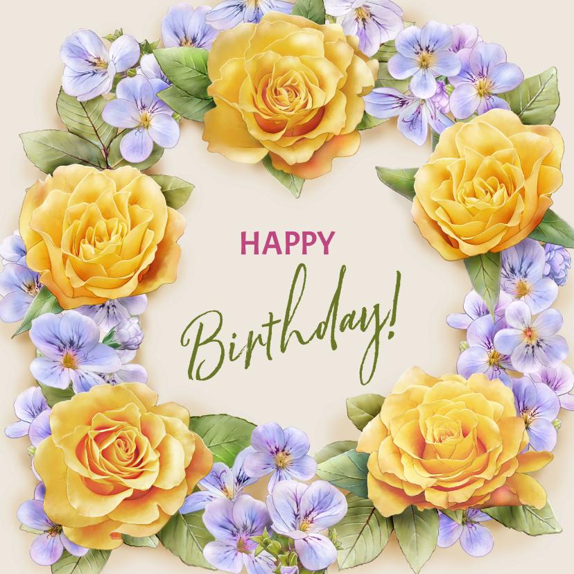 Verjaardagskaarten - Kleurige verjaardagskaart met krans van gele rozen