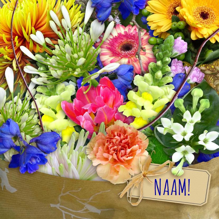 Verjaardagskaarten - Kleurige verjaardagskaart met mooi boeket bloemen