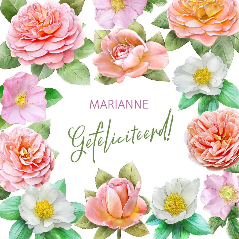 Verjaardagskaarten - Kleurige verjaardagskaart met roze en andere rozen