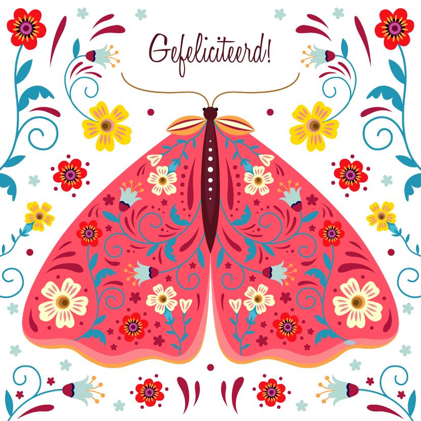 Verjaardagskaarten - Kleurige verjaardagskaart vlinder met sierlijke bloemen