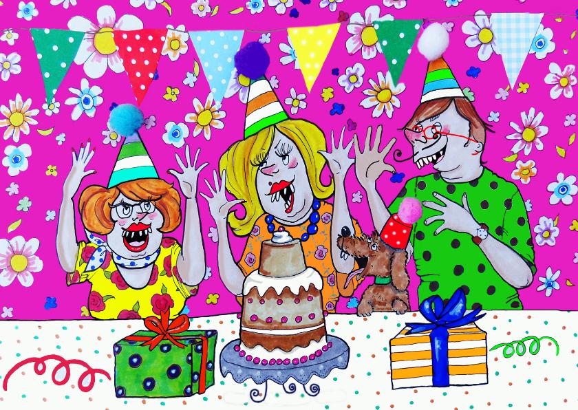 Verjaardagskaarten - kleurrijk de handen in de lucht