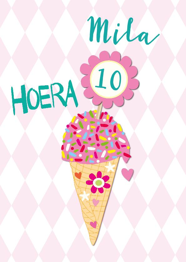 Verjaardagskaarten - Kleurrijk ijsje met naam en leeftijd aanpasbaar