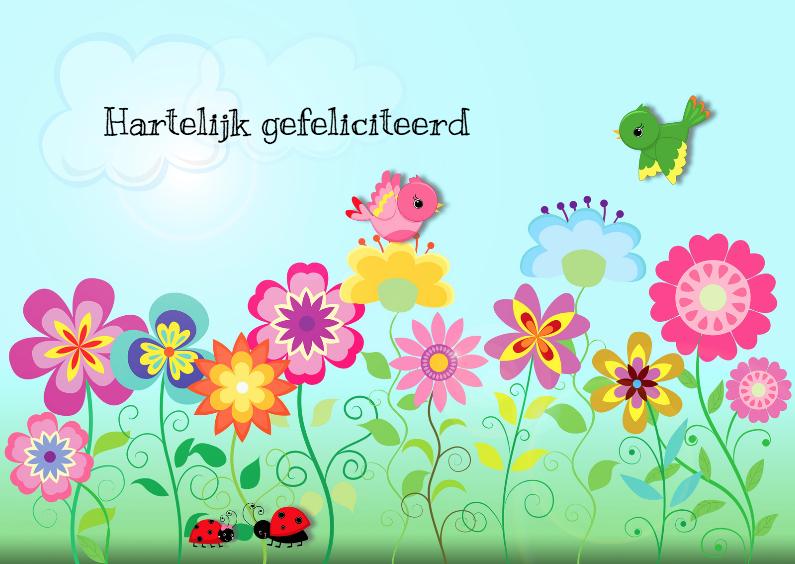 Kleurrijke bloemen en vogels   Verjaardagskaarten   Kaartje2go