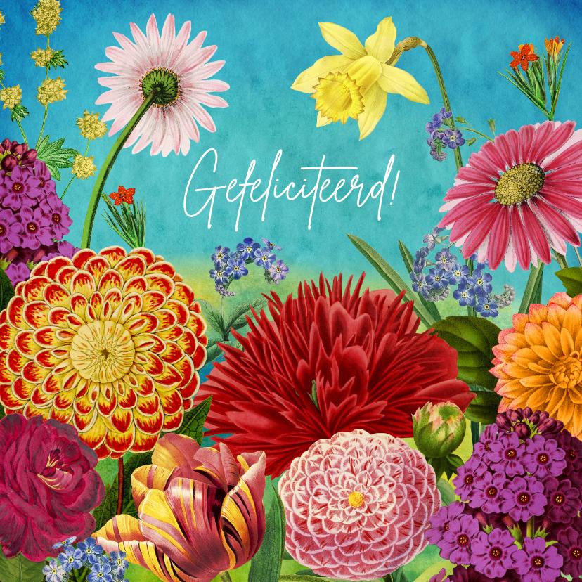 Verjaardagskaarten - Kleurrijke bloemen felicitatiekaart