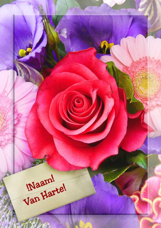 Verjaardagskaarten - Kleurrijke bloemen met kader roos b