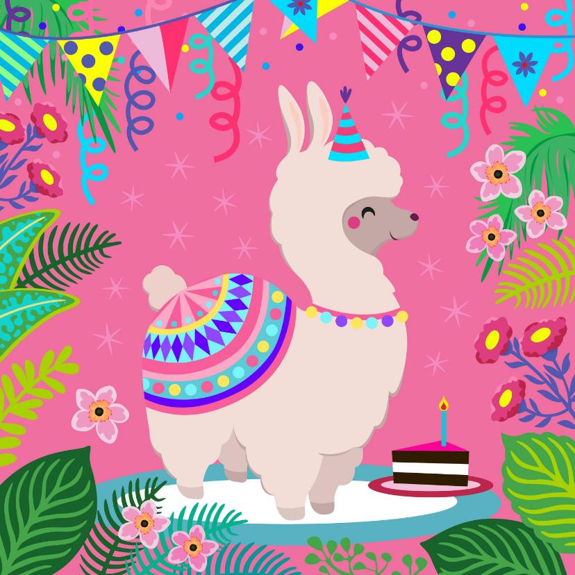Verjaardagskaarten - Kleurrijke en vrolijke alpaca verjaardagskaart