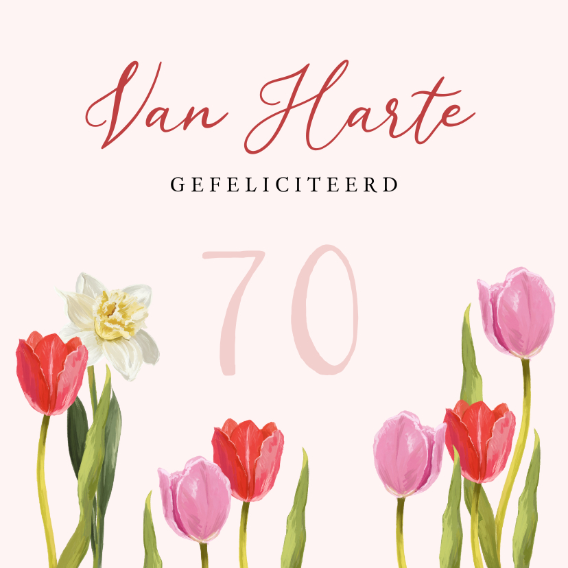 Verjaardagskaarten - Kleurrijke kaart met bloemen en stijlvolle typografie