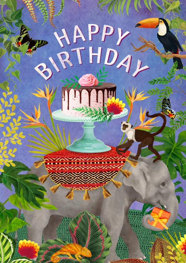 Verjaardagskaarten - Kleurrijke verjaardagskaart met olifant met taart