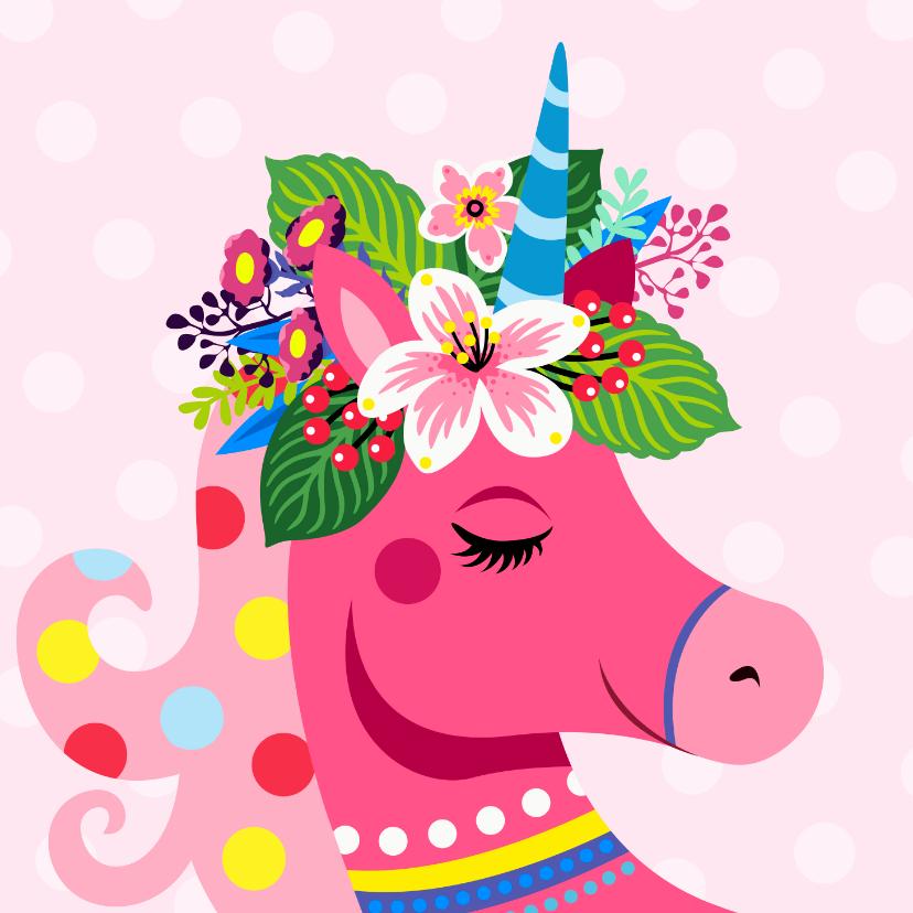 Verjaardagskaarten - Kleurrijke verjaardagskaart met unicorn en bloemen