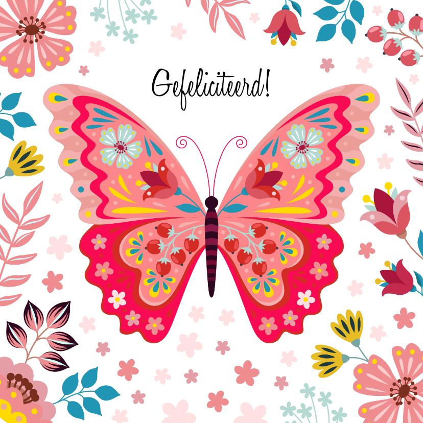Verjaardagskaarten - Kleurrijke verjaardagskaart met vlinder en bloemen