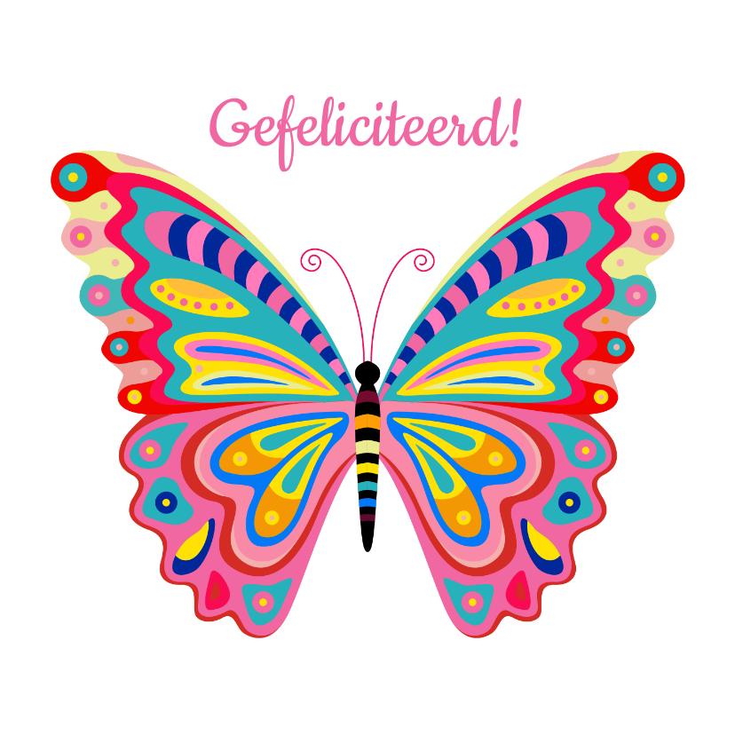 Verjaardagskaarten - Kleurrijke vlinder verjaardagskaart