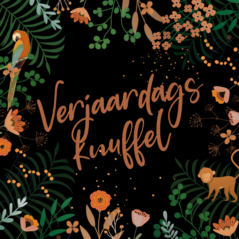 Verjaardagskaarten - Knuffel kaart takjes en bloemen terracotta
