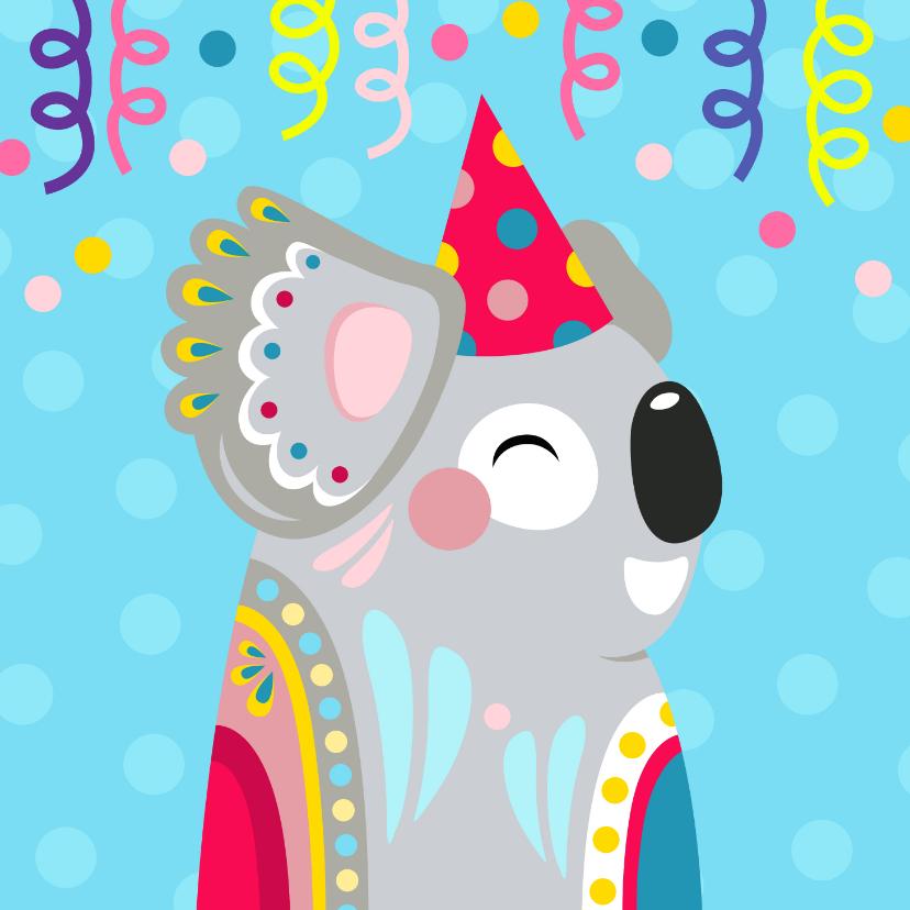 Verjaardagskaarten - Koala verjaardagskaart met confetti en slingers