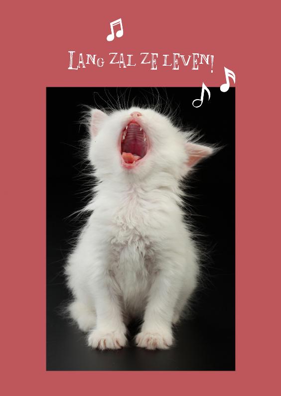 Verjaardagskaarten - Lang zal ze leven kaart kat