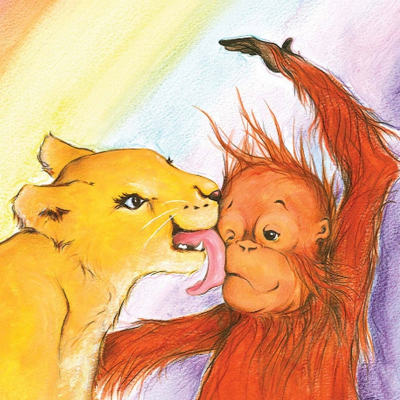 Verjaardagskaarten - Leeuwtje en aapje