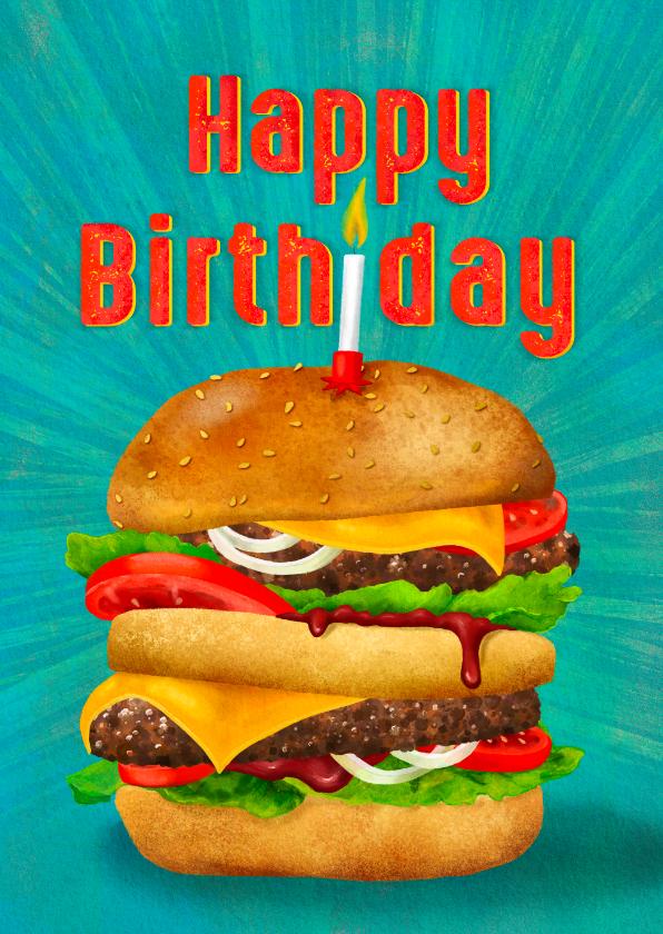 Verjaardagskaarten - Lekkere verjaardagkaart voor jongens, hamburger met kaarsje
