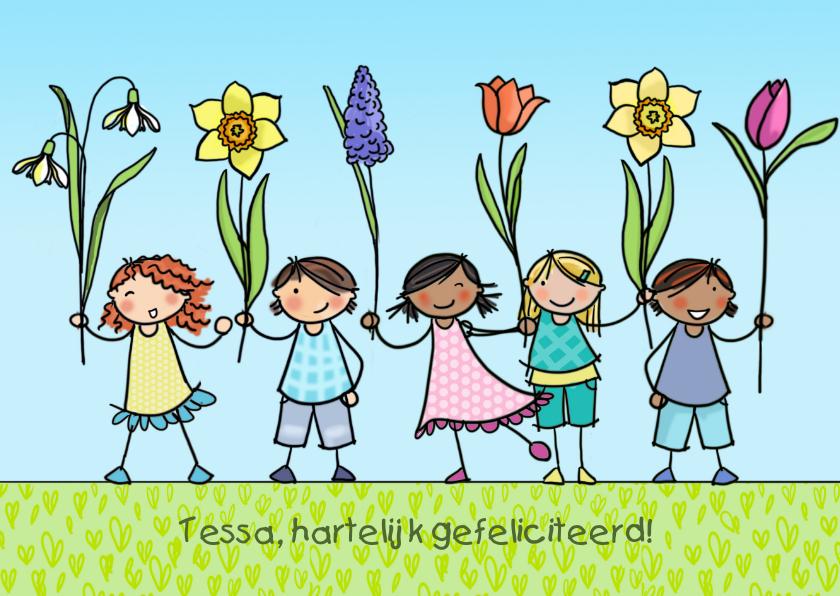 Verjaardagskaarten - Lente verjaardagskaart Anet Illustraties