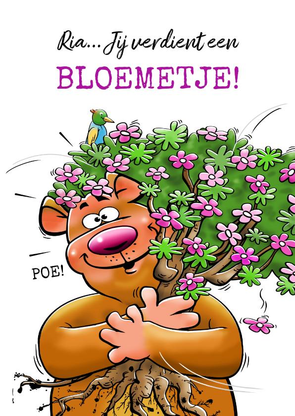 Verjaardagskaarten - Leuke en grappige verjaardagskaart met beertje en bloemen.