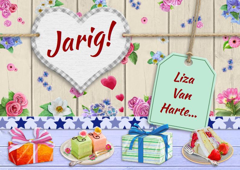 Verjaardagskaarten - Leuke felicitatie met bloemetjes en gebakjes