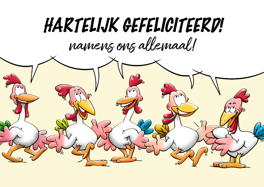 Verjaardagskaarten - Leuke verjaardagskaart, 5 kippen vieren samen een feestje
