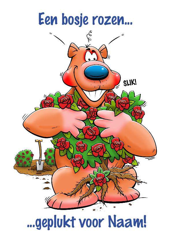 """Verjaardagskaarten - Leuke verjaardagskaart beer met """"bosje"""" rozen"""
