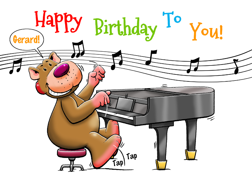 Verjaardagskaarten - Leuke verjaardagskaart beertje speelt piano voor de jarige
